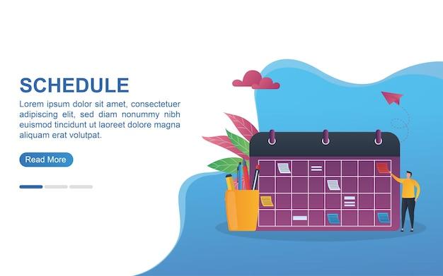Conceito de ilustração de programação com um grande calendário e estojo.
