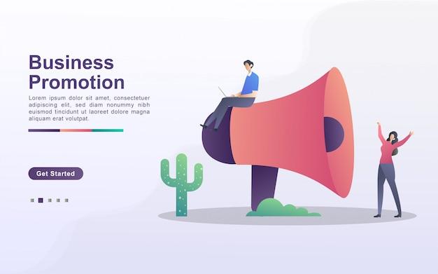Conceito de ilustração de promoção de negócios com pessoas pequenas. homens e mulheres empresários estão promovendo seus negócios para se desenvolver.