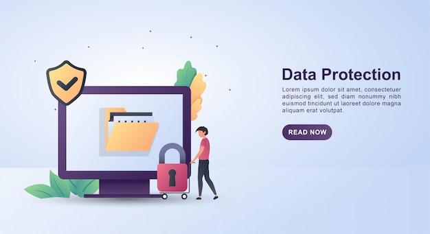 Conceito de ilustração de proteção de dados com um cadeado.