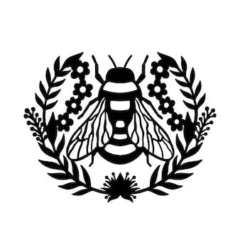 Conceito de ilustração de quadro floral de grinalda de abelha