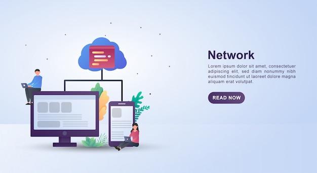 Conceito de ilustração de rede com uma nuvem de servidor que conecta a rede.