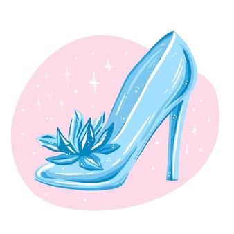 Conceito de ilustração de sapato de vidro cinderela