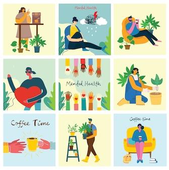 Conceito de ilustração de saúde mental. jovem e mulher com tempestade na cabeça. interpretação visual da psicologia da saúde mental no design plano