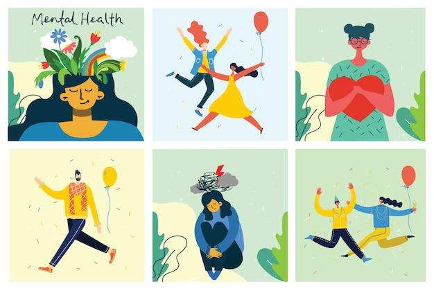 Conceito de ilustração de saúde mental. jovem e mulher com tempestade na cabeça. interpretação visual psicológica da saúde mental em design plano