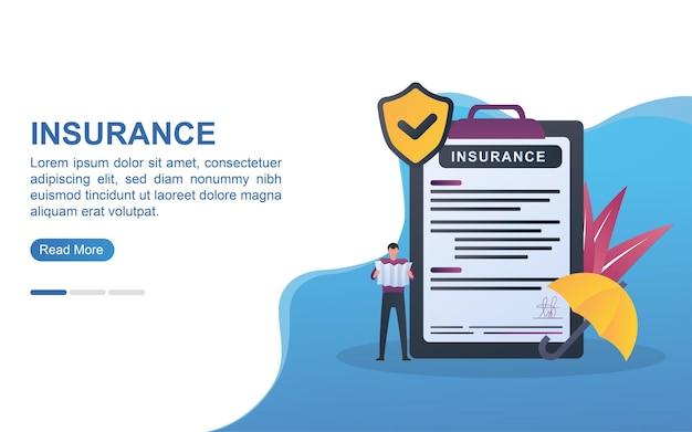 Conceito de ilustração de seguro com a pessoa que escreve o contrato de seguro.