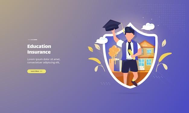 Conceito de ilustração de seguro educacional