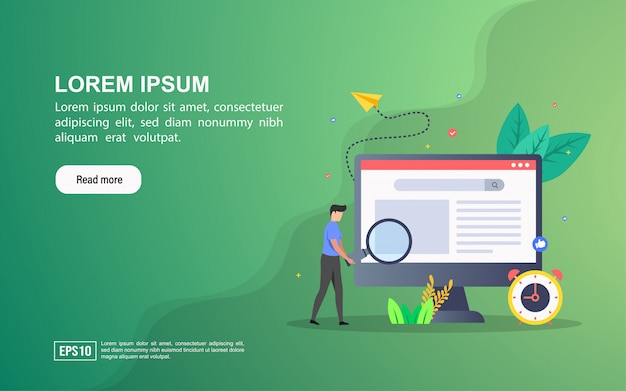 Conceito de ilustração de seo. modelo de web da página de destino ou publicidade on-line