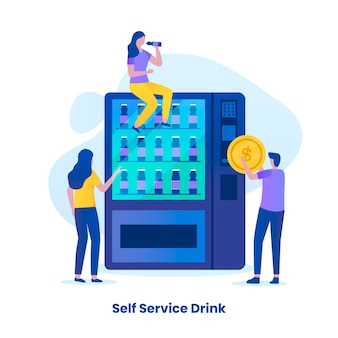 Conceito de ilustração de serviço de bebida self-order