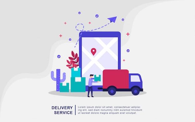 Conceito de ilustração de serviço de entrega com pessoas pequenas