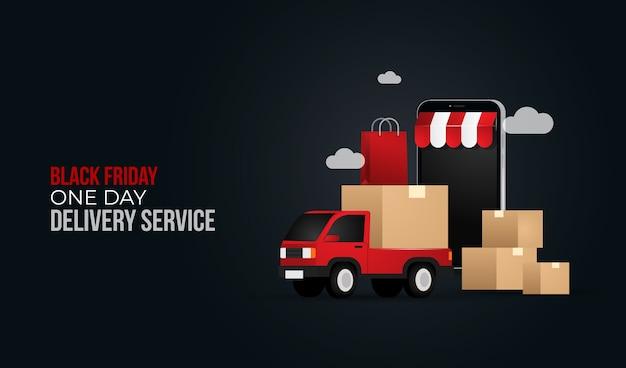 Conceito de ilustração de serviço de entrega de um dia da black friday