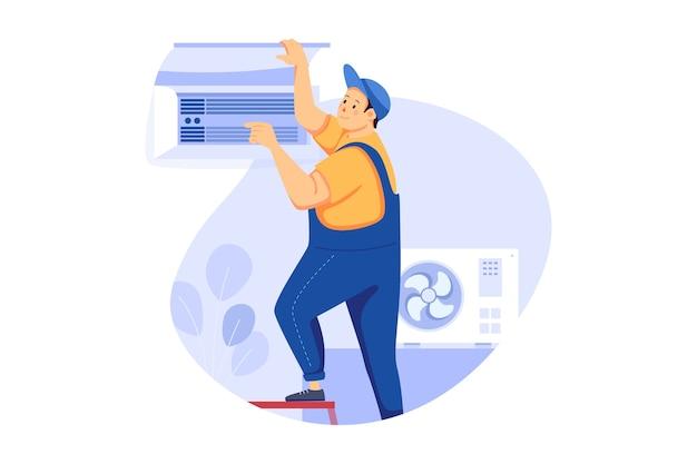 Conceito de ilustração de serviço de instalação de ar condicionado