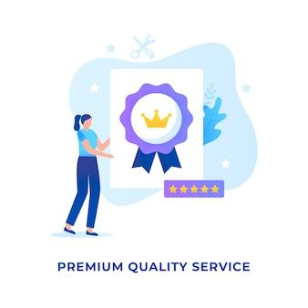 Conceito de ilustração de serviço de qualidade premium para sites