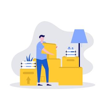 Conceito de ilustração de serviços de mudança e realocação de casa com pilha de caixas de papelão e personagem.