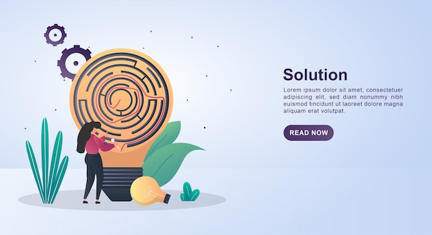Conceito de ilustração de solução com uma lâmpada que contém um labirinto.