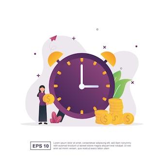 Conceito de ilustração de tempo é dinheiro com um grande relógio.