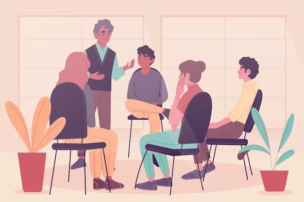 Conceito de ilustração de terapia de grupo
