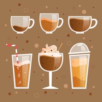 Conceito de ilustração de tipos de café Vetor grátis