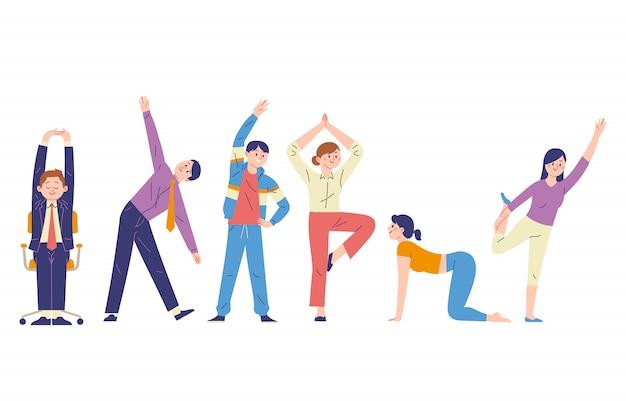 Conceito de ilustração de uma pessoa que estica um membro para relaxar os músculos