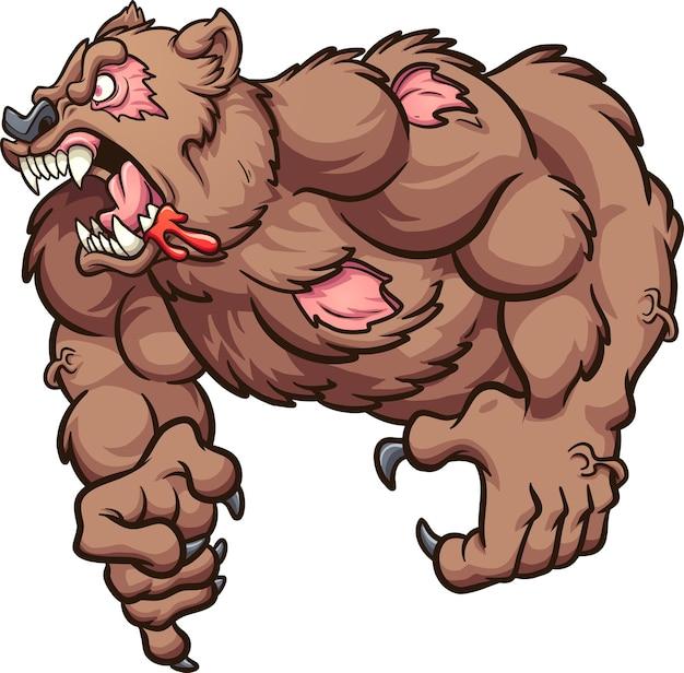 Conceito de ilustração de urso zumbi irritado