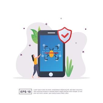 Conceito de ilustração de verificação de vírus para que o telefone fique protegido contra vírus.