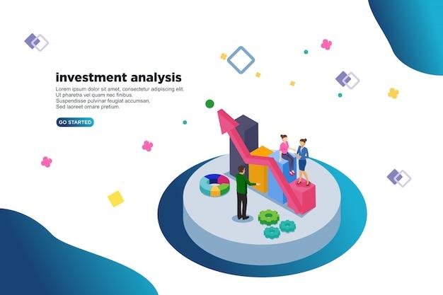 Conceito de ilustração de vetor isométrica de análise de investimento