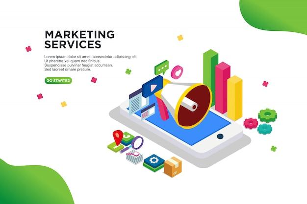 Conceito de ilustração de vetor isométrica de serviços de marketing