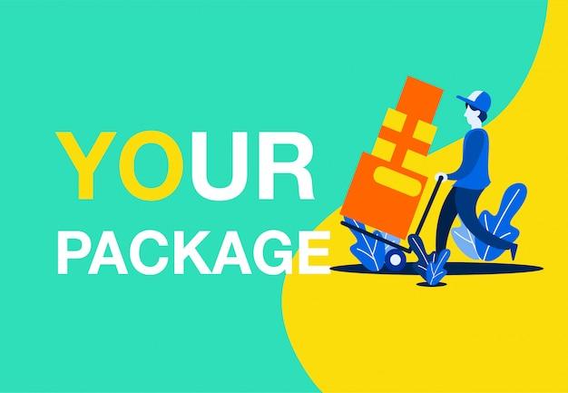 Conceito de ilustração de vetores de entrega pacote