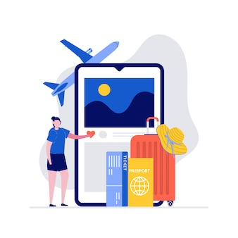 Conceito de ilustração de viagens e férias de verão com bagagem embalada e grande smartphone.