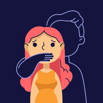 Conceito de ilustração de violência de gênero
