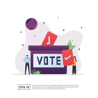 Conceito de ilustração de voto com uma grande urna e uma pessoa segurando um voto de papel.