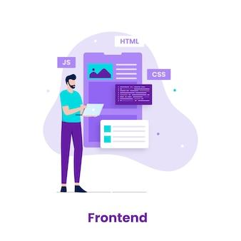 Conceito de ilustração do desenvolvedor de front-end. ilustração para sites, páginas de destino, aplicativos móveis, pôsteres e banners