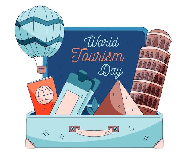 Conceito de ilustração do dia do turismo mundial desenhado à mão