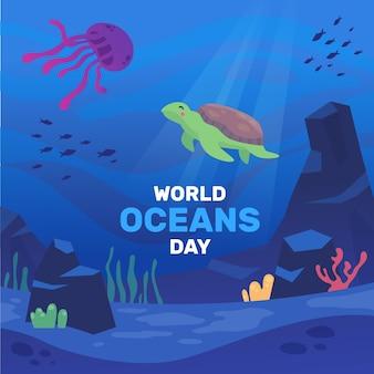 Conceito de ilustração do dia mundial dos oceanos