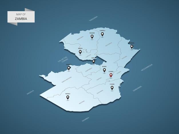 Conceito de ilustração do mapa 3d isométrico da zâmbia