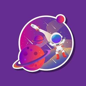 Conceito de ilustração do planeta e galáxia