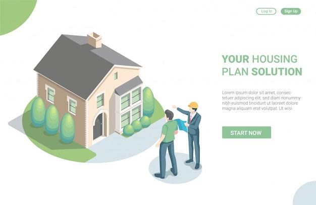 Conceito de ilustração isométrica da página inicial da solução de plano de habitação