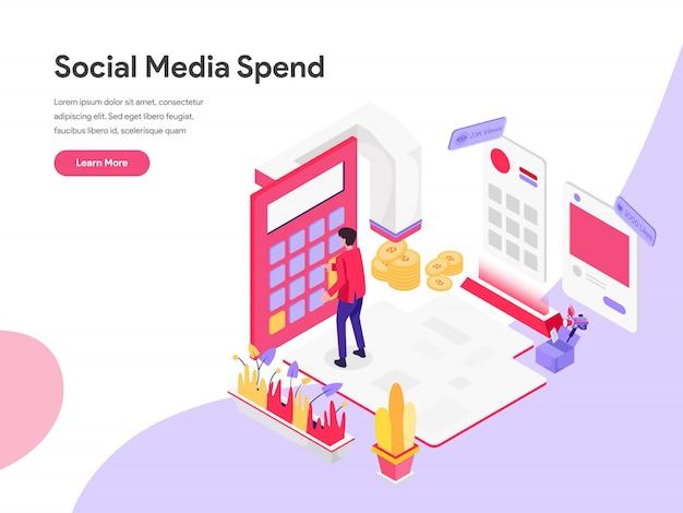 Conceito de ilustração isométrica de custo de marketing digital