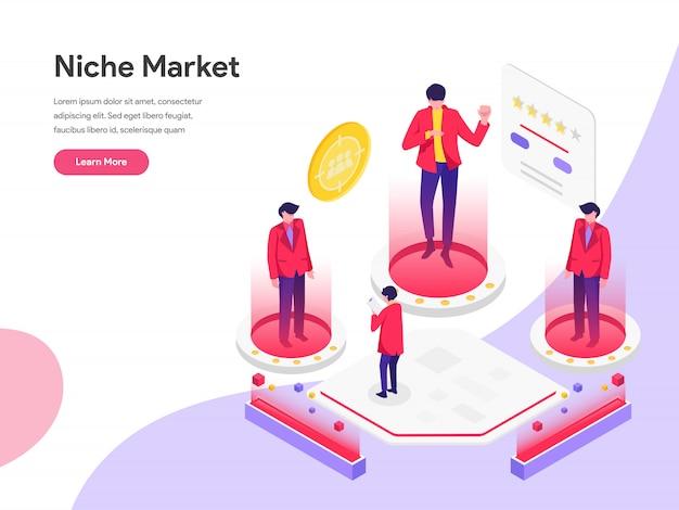 Conceito de ilustração isométrica de mercado de nicho