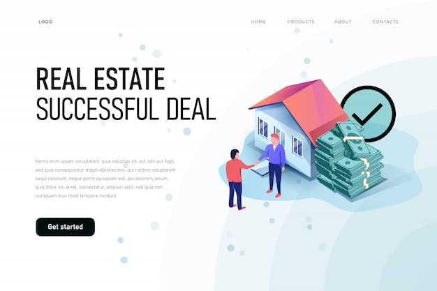 Conceito de ilustração isométrica de negócio bem sucedido imobiliário. modelo de página de destino.