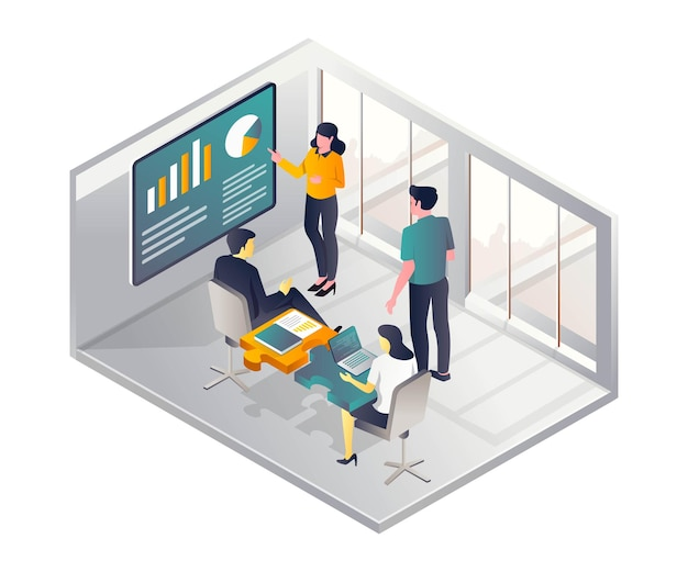 Conceito de ilustração isométrica plana encontrando-se no escritório com uma mesa de quebra-cabeça
