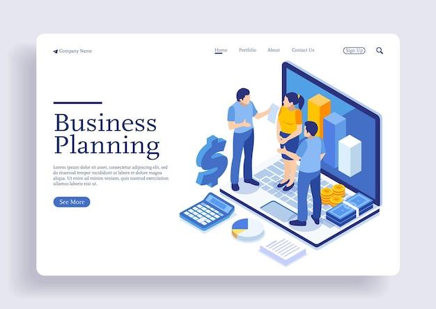 Conceito de ilustração isométrica que a equipe de trabalho está preparando e discute sobre planejamento de negócios