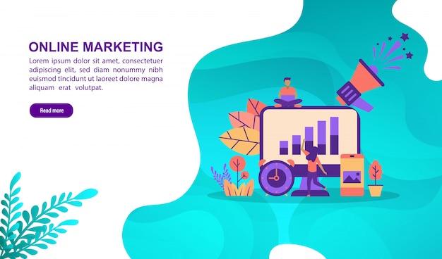Conceito de ilustração marketing on-line com caráter. modelo de página de destino