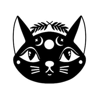 Conceito de ilustração mística de bruxa com cara de gato