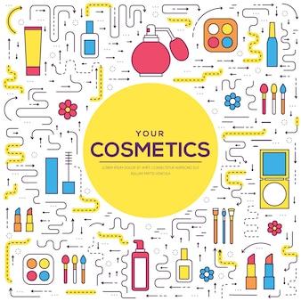 Conceito de ilustração moderna de ferramentas de maquiagem de linha fina