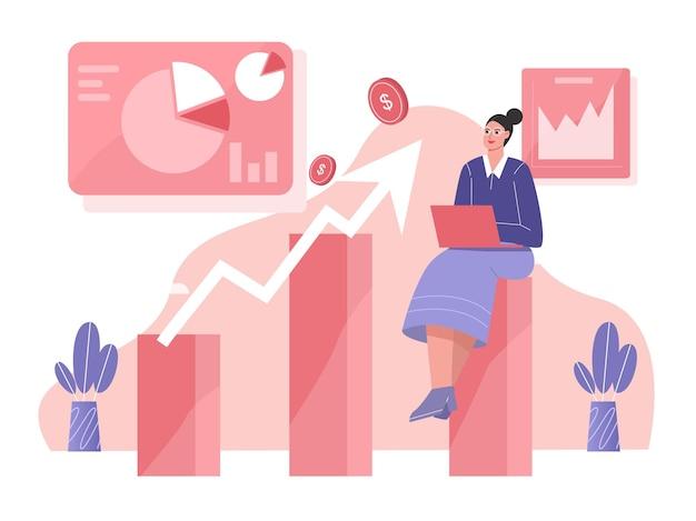 Conceito de ilustração plana de crescimento de lucro empresarial