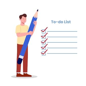 Conceito de ilustração plana de lista de tarefas de jovem