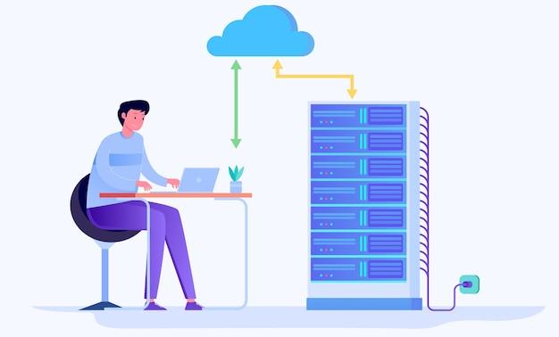 Conceito de ilustração plana de serviço de computação em nuvem em nuvem