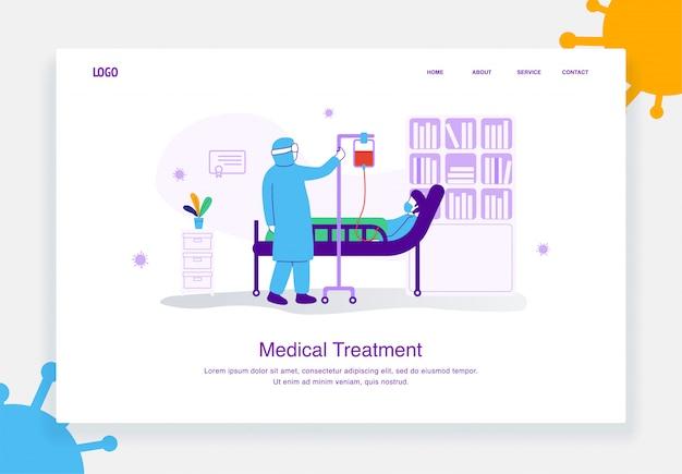 Conceito de ilustração plana de um médico que usa um traje de proteção para tratar um paciente, covid 19, para o modelo de página de destino