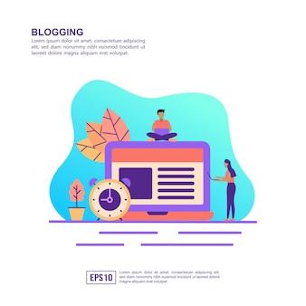 Conceito de ilustração vetorial de blogging