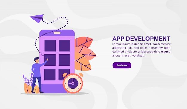 Conceito de ilustração vetorial de desenvolvimento de aplicativos. ilustração moderna conceitual para o modelo de banner